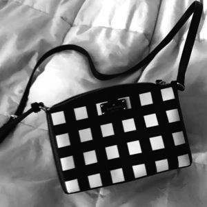 Kate Spade black and white checkered shoulder bag
